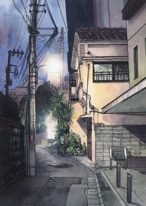 រាត្រីដ៏ស្រស់ស្អាតនៅ Tokyo តាមរយៈគំនូរពណ៌ទឹក